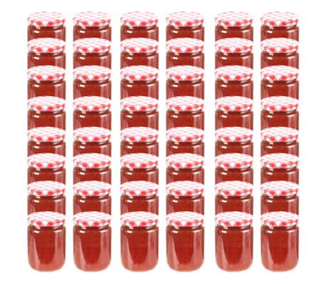 vidaXL Syltburkar i glas med vita och röda lock 48 st 230 ml[1/7]