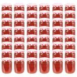 vidaXL 48 pcs Pots à confiture Couvercle blanc et rouge Verre 230 ml