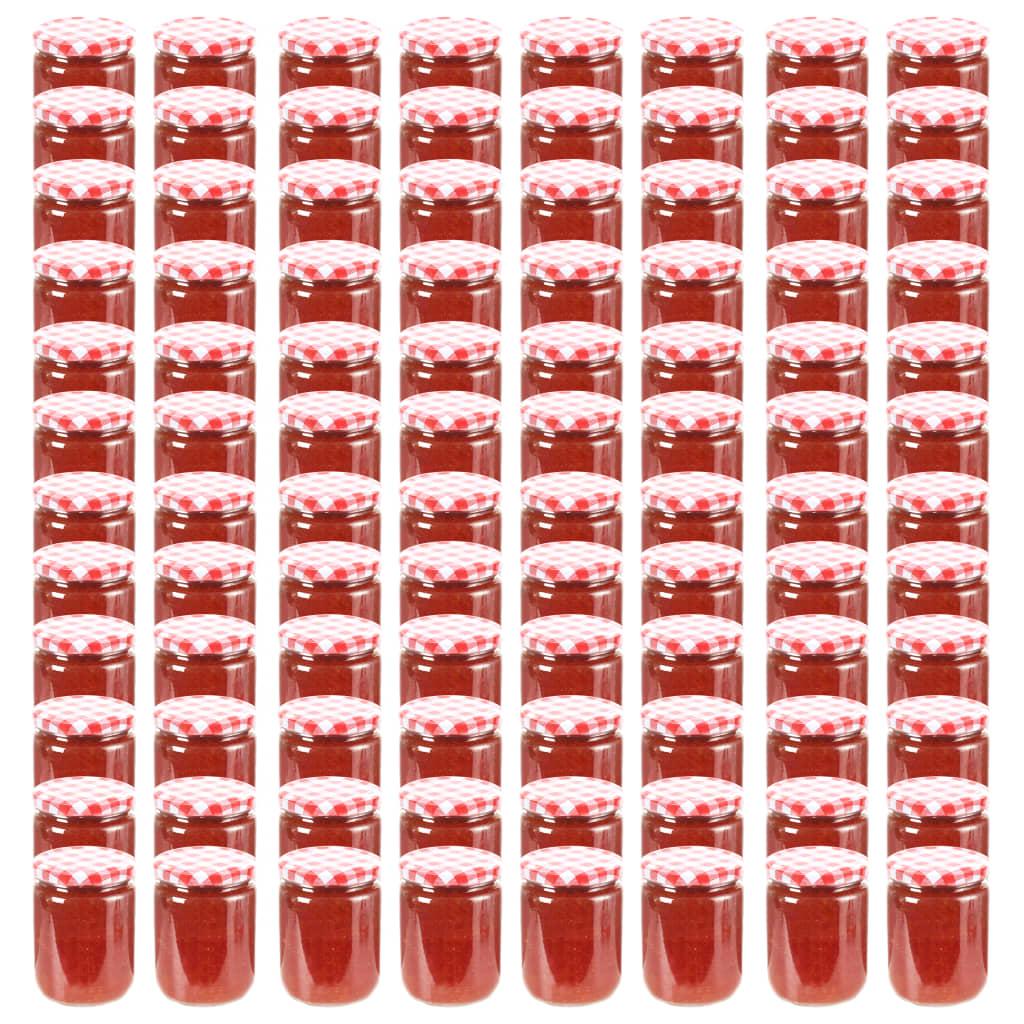 vidaXL Borcane de sticlă pentru gem capace alb & roșu 96 buc. 230 ml poza vidaxl.ro