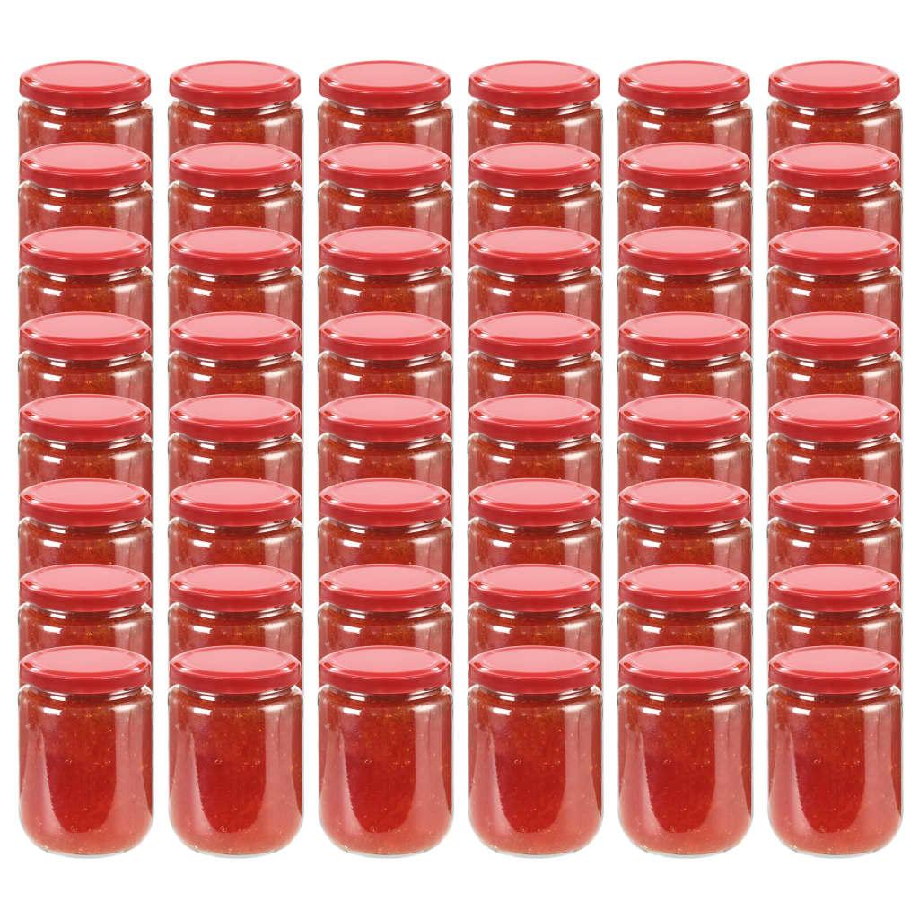vidaXL Borcane din sticlă pentru gem, capac roșu, 48 buc., 230 ml poza vidaxl.ro