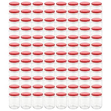 vidaXL Syltburkar i glas med röda lock 96 st 230 ml[2/7]