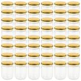 vidaXL Jampotten met goudkleurige deksels 48 st 230 ml glas