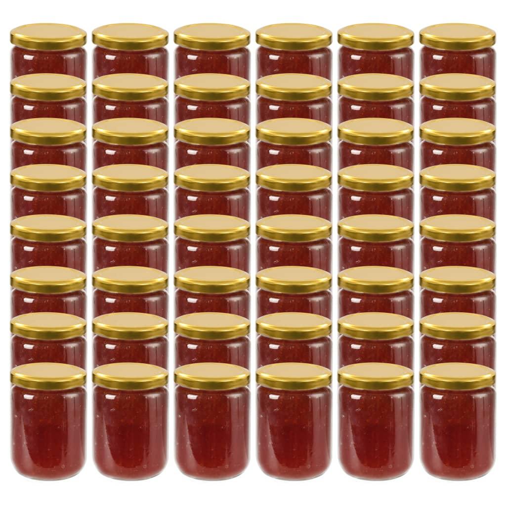 vidaXL Borcane din sticlă pentru gem, capac auriu, 48 buc., 230 ml imagine vidaxl.ro