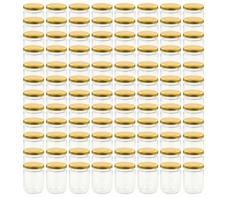 vidaXL Syltburkar i glas med guldfärgade lock 96 st 230 ml