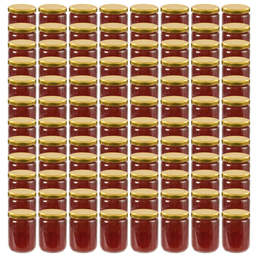 vidaXL Borcane din sticlă pentru gem, capace aurii, 96 buc., 230 ml poza vidaxl.ro