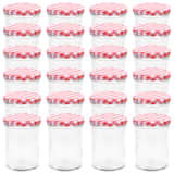 vidaXL Glass Jam Jars with White and Red Lid 24 pcs 400 ml