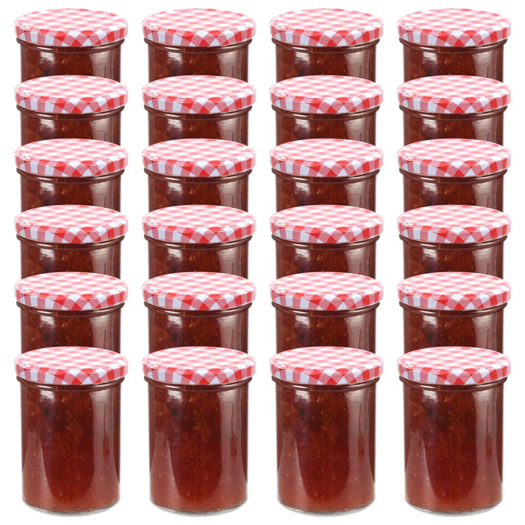 vidaXL Borcane de sticlă pentru gem, capace alb & roșu, 24 buc, 400 ml poza vidaxl.ro