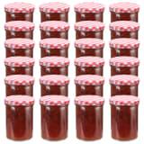 vidaXL Syltetøyglass med hvite og røde lokk 24 stk 400 ml