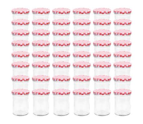 vidaXL Syltburkar i glas med vita och röda lock 48 st 400 ml[2/7]