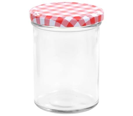 vidaXL Syltburkar i glas med vita och röda lock 48 st 400 ml[4/7]