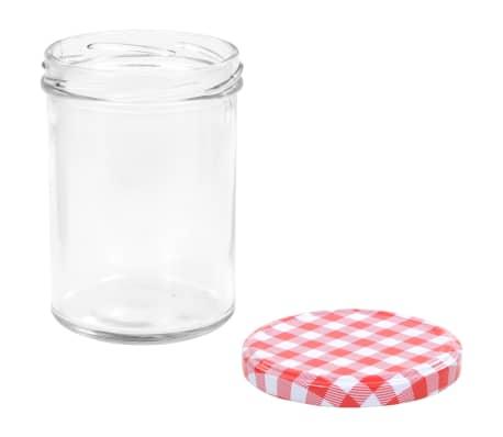 vidaXL Syltburkar i glas med vita och röda lock 48 st 400 ml[5/7]