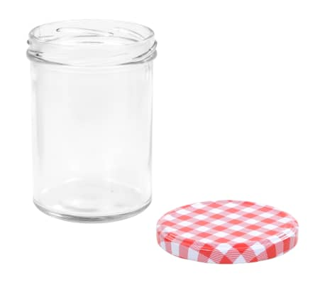 vidaXL Borcane de sticlă pentru gem capace alb & roșu 96 buc. 400 ml[5/7]