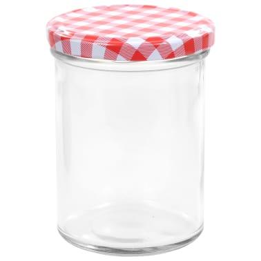 vidaXL Borcane de sticlă pentru gem capace alb & roșu 96 buc. 400 ml[4/7]