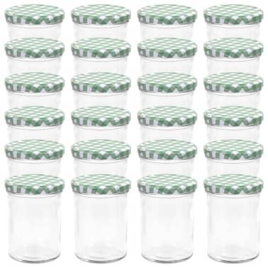 vidaXL Syltburkar i glas med vita och gröna lock 24 st 400 ml[2/6]