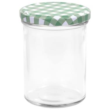 vidaXL Syltburkar i glas med vita och gröna lock 24 st 400 ml[4/6]