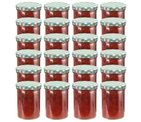 vidaXL Syltburkar i glas med vita och gröna lock 24 st 400 ml[1/6]