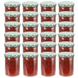 vidaXL 24 pcs Pots à confiture Couvercle blanc et vert Verre 400 ml