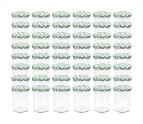 vidaXL Borcane sticlă pentru gem, capace alb și verde, 48 buc., 400 ml[2/6]