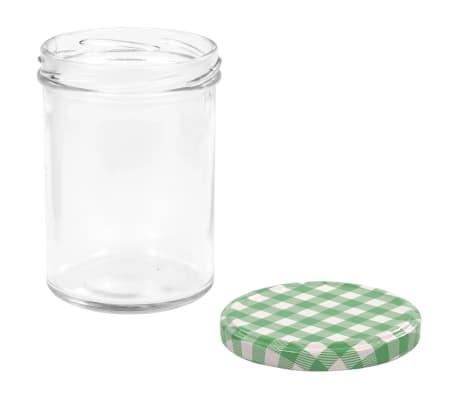 vidaXL Borcane sticlă pentru gem, capace alb și verde, 48 buc., 400 ml[5/6]
