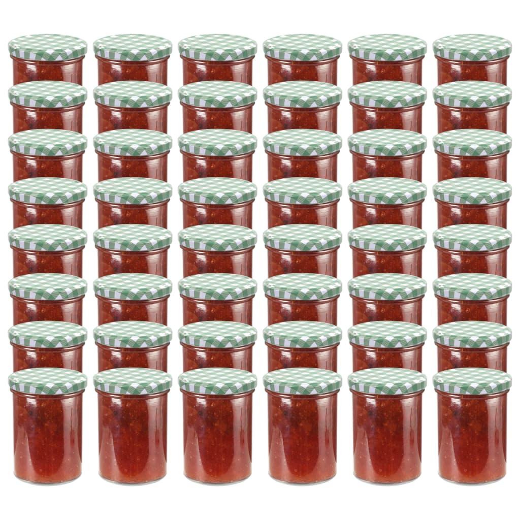vidaXL Borcane sticlă pentru gem, capace alb și verde, 48 buc., 400 ml poza vidaxl.ro