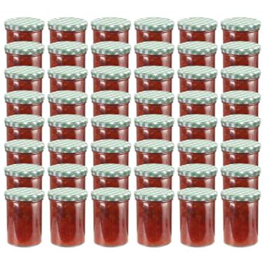 vidaXL Borcane sticlă pentru gem, capace alb și verde, 48 buc., 400 ml[1/6]