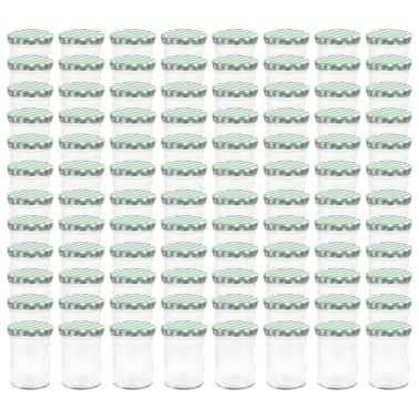 vidaXL Borcane sticlă pentru gem, capace alb și verde, 96 buc., 400 ml[2/6]