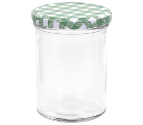 vidaXL Borcane sticlă pentru gem, capace alb și verde, 96 buc., 400 ml[4/6]