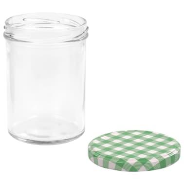 vidaXL Borcane sticlă pentru gem, capace alb și verde, 96 buc., 400 ml[5/6]