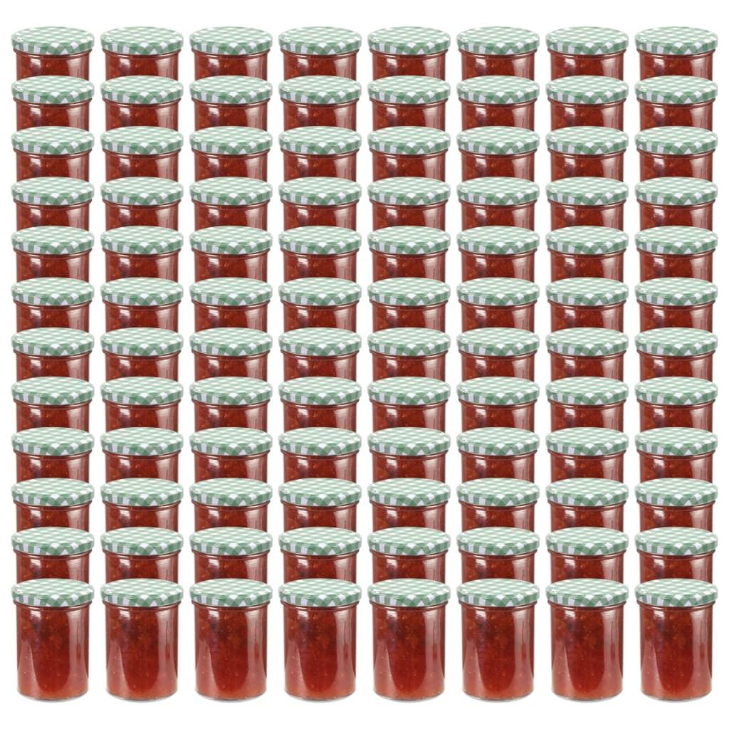 vidaXL Borcane sticlă pentru gem, capace alb și verde, 96 buc., 400 ml imagine vidaxl.ro