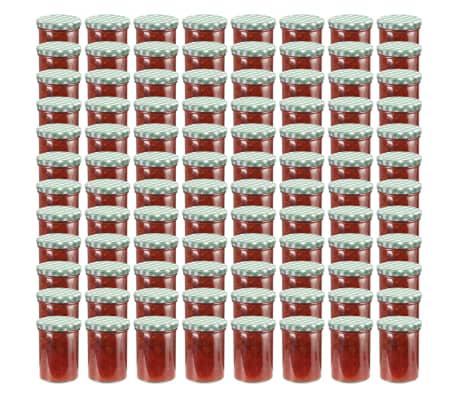 vidaXL Borcane sticlă pentru gem, capace alb și verde, 96 buc., 400 ml[1/6]