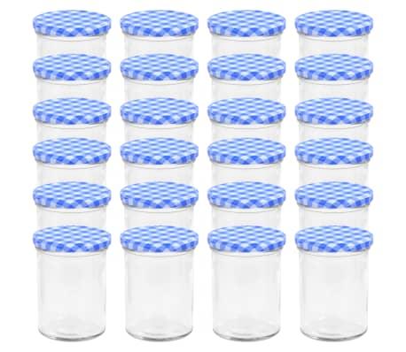 vidaXL Syltburkar i glas med vita och blåa lock 24 st 400 ml