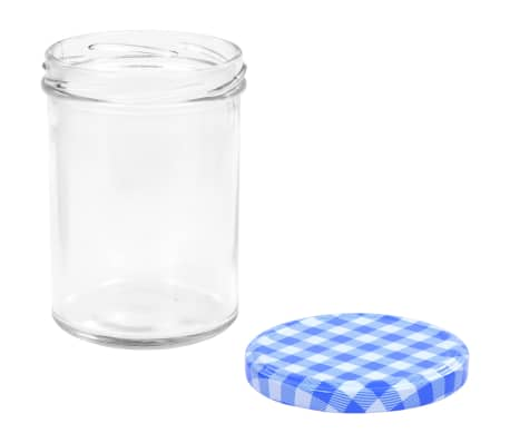 vidaXL Syltburkar i glas med vita och blåa lock 24 st 400 ml[5/6]