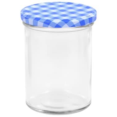 vidaXL Syltburkar i glas med vita och blåa lock 24 st 400 ml[4/6]