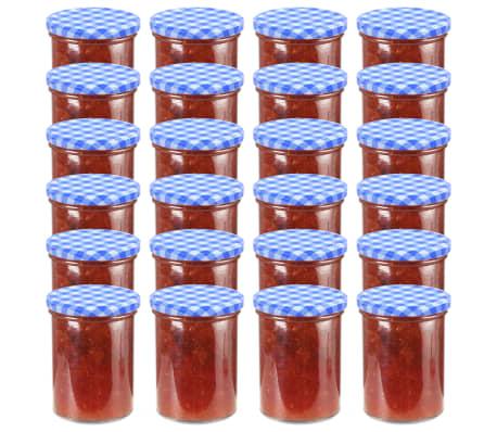 vidaXL Syltburkar i glas med vita och blåa lock 24 st 400 ml[1/6]