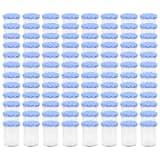 vidaXL ievārījuma burciņas, balti zili vāciņi, 96 gab., 400 ml