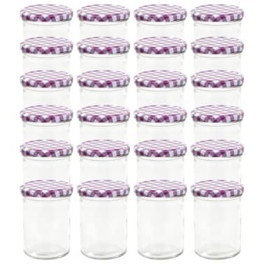 vidaXL Borcane sticlă pentru gem, capace alb & violet, 24 buc., 400 ml[2/6]