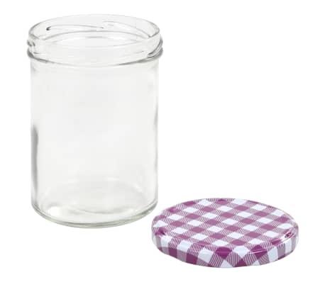 vidaXL Borcane sticlă pentru gem, capace alb & violet, 24 buc., 400 ml[5/6]