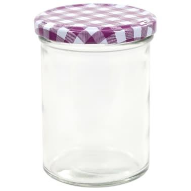 vidaXL Borcane sticlă pentru gem, capace alb & violet, 24 buc., 400 ml[4/6]