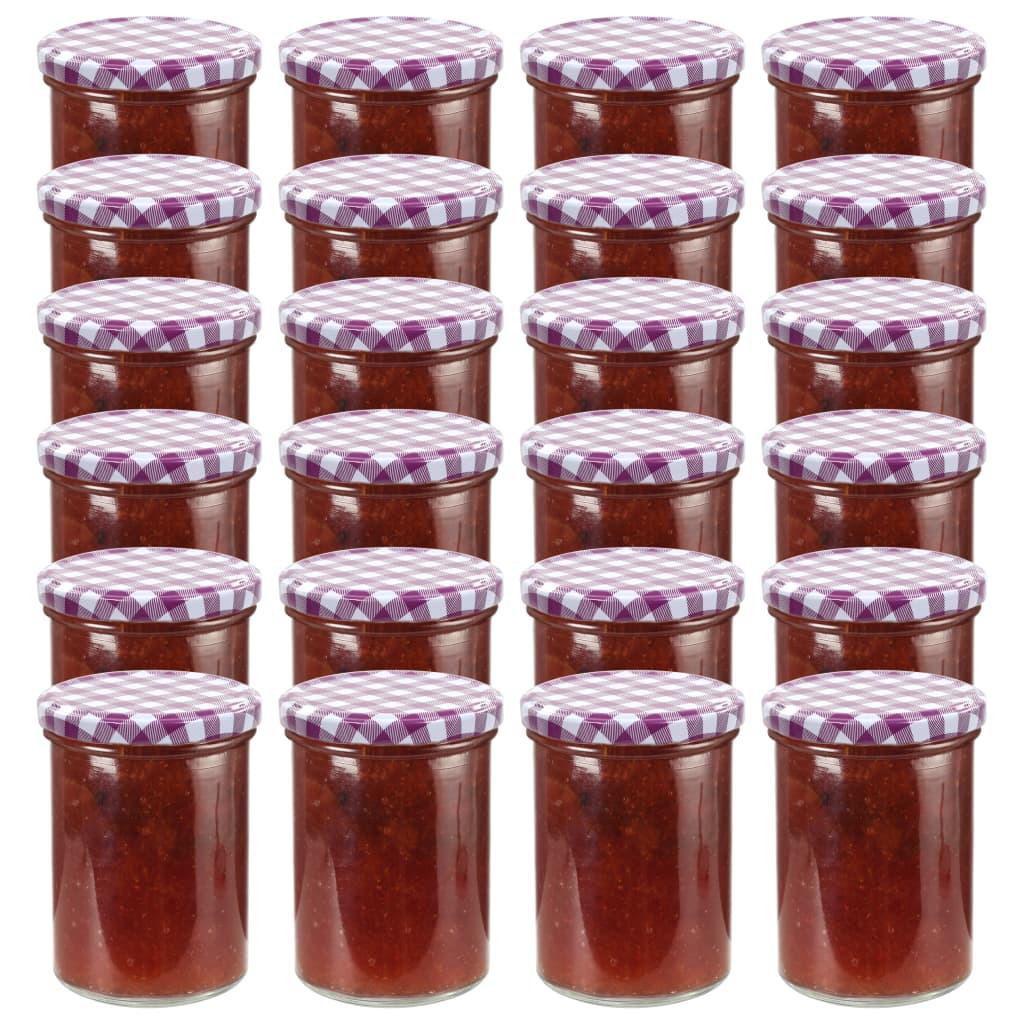 vidaXL Borcane sticlă pentru gem, capace alb & violet, 24 buc., 400 ml imagine vidaxl.ro