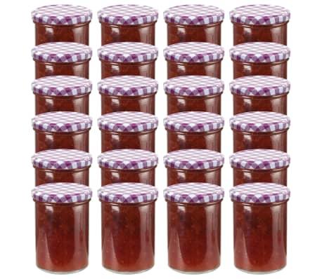 vidaXL Borcane sticlă pentru gem, capace alb & violet, 24 buc., 400 ml[1/6]