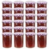 vidaXL 24 pcs Pots à confiture Couvercle blanc et violet Verre 400 ml