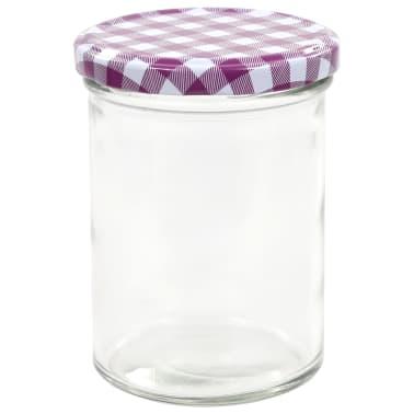 vidaXL Syltburkar i glas med vita och lila lock 48 st 400 ml[4/6]