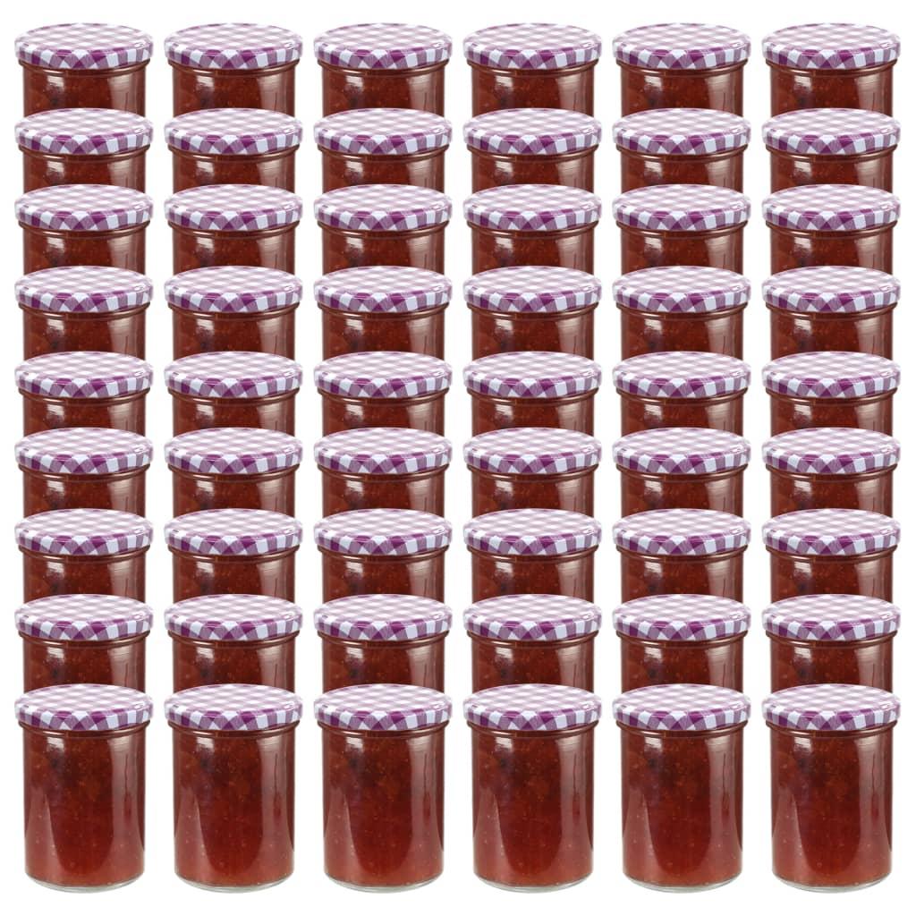 vidaXL Borcane sticlă pentru gem capace alb & violet 48 buc. 400 ml imagine vidaxl.ro