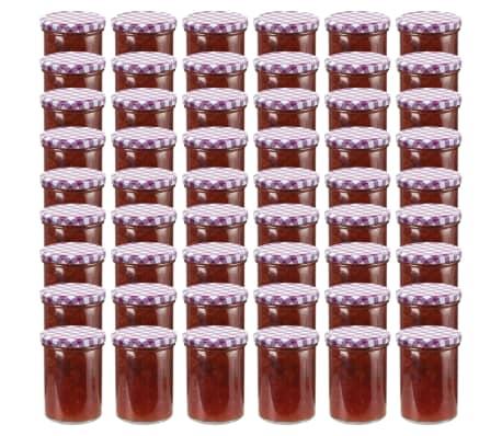 vidaXL Syltburkar i glas med vita och lila lock 48 st 400 ml[1/6]