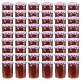 vidaXL 48 db 400 ml-es befőttesüveg lila-fehér tetővel