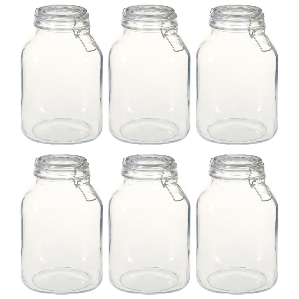 vidaXL Borcane din sticlă cu închidere ermetică, 6 buc., 3 L imagine vidaxl.ro