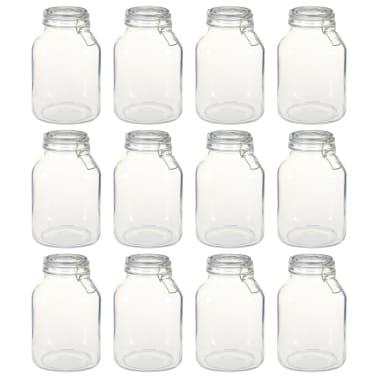 vidaXL Borcane din sticlă cu închidere ermetică, 12 buc., 3 L[1/5]