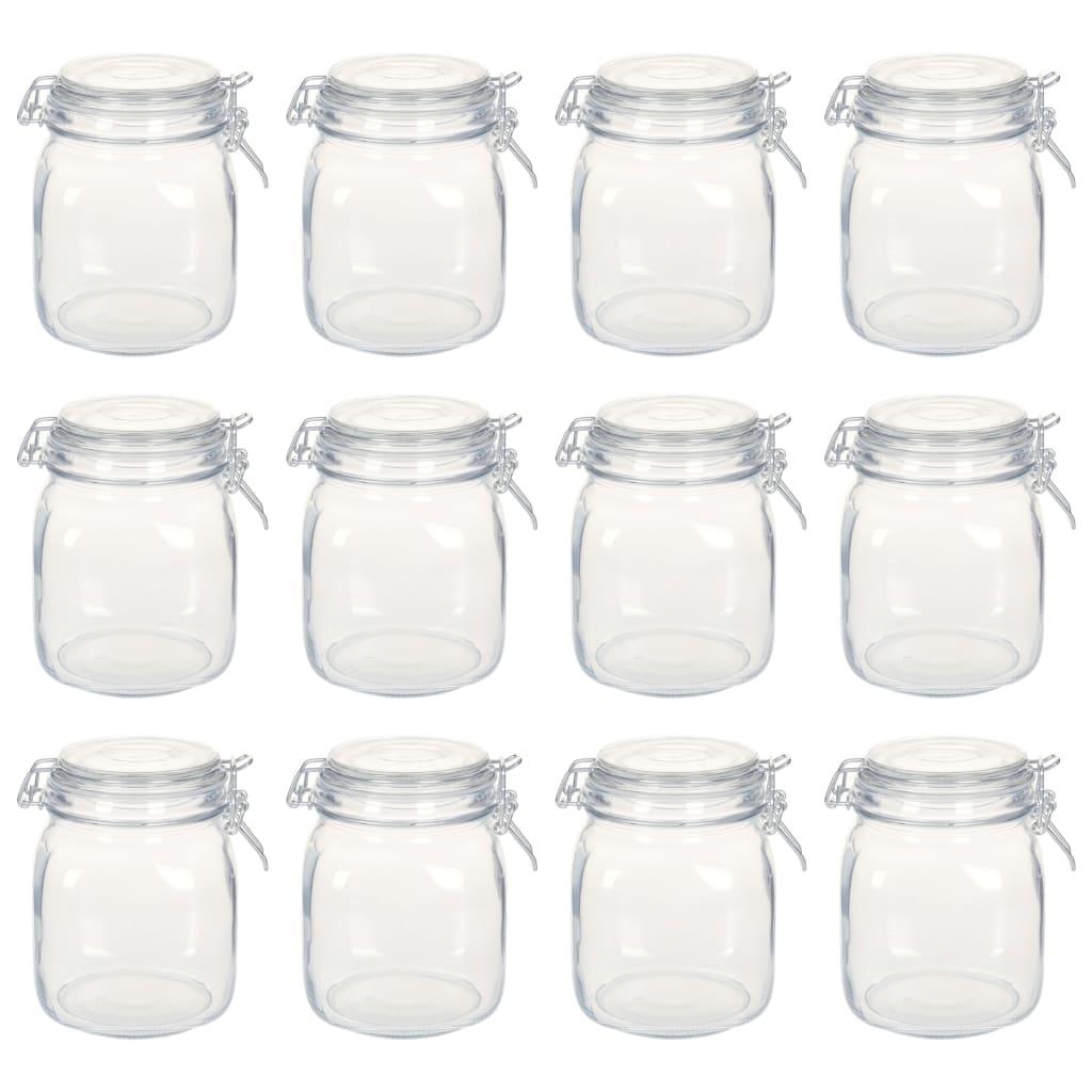 vidaXL Borcane din sticlă cu închidere ermetică, 12 buc., 1 L imagine vidaxl.ro