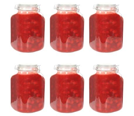 vidaXL Borcane din sticlă cu închidere ermetică, 6 buc., 5 L[1/7]