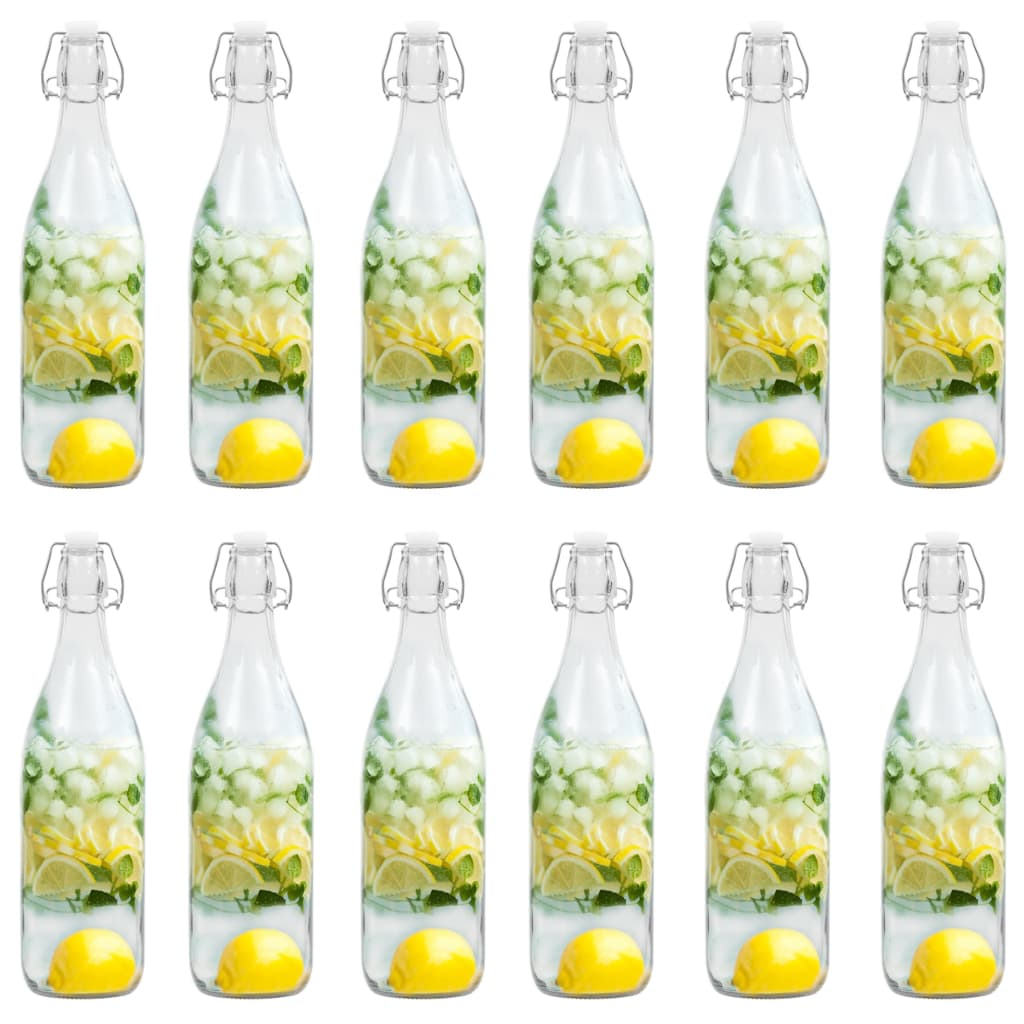 vidaXL Sticlă cu dop ermetic, 12 buc., 1 L poza 2021 vidaXL